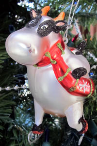 Skating cow Christmas ornament - December 2010