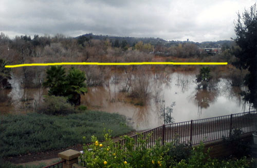 San Diego river flooding - normal water levels - December 2010