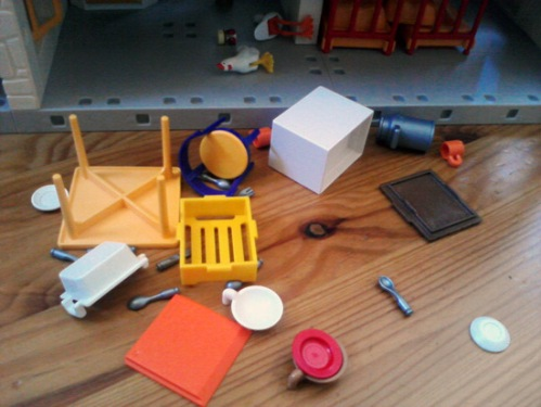 Playmobil farmhouse hit by an earthquake