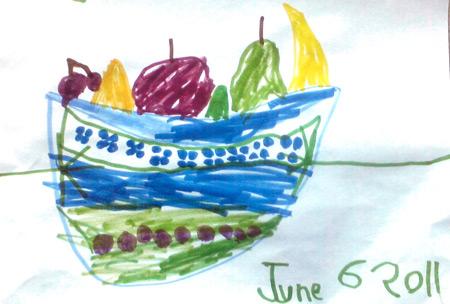 Children's artwork - fruit bowl