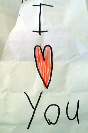 """I love you"" note"