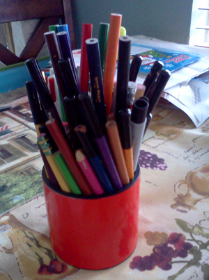 Colored pencils on the dining table