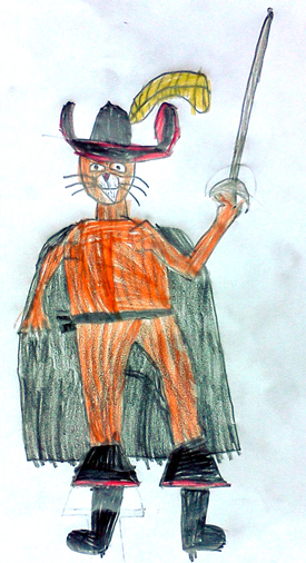Puss in Boots drawing by my 6-year old