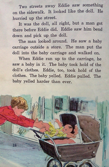Eddie, the doll and the baby carriage