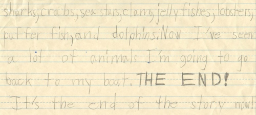 Underwater dive story by first grader