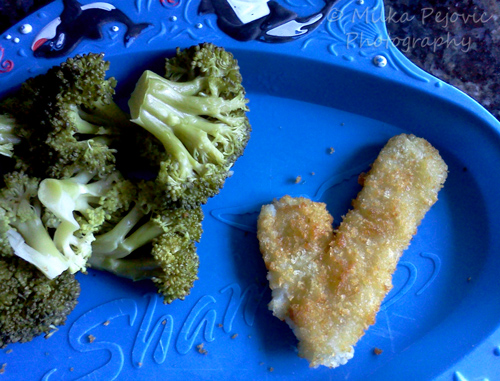 Food art: fishstick check mark
