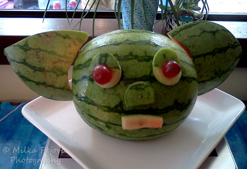 Food art: Yoda head made with watermelon