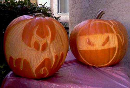 Surface carved pumpkins