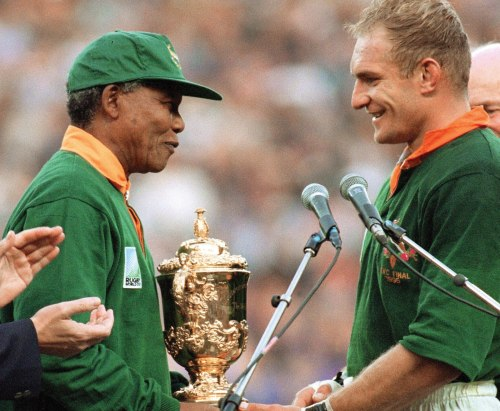 Mandela and the South African rugby team