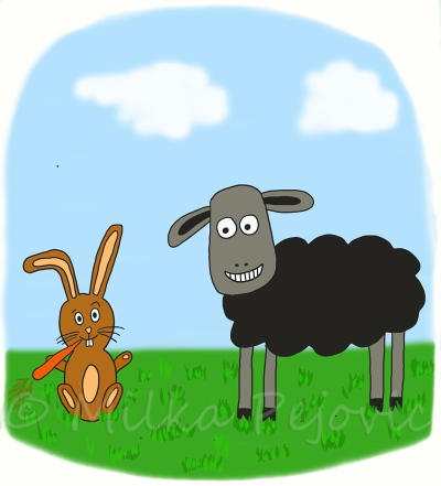My book characters: a rabbit and a sheep