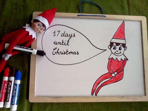 Wink draws on our Christmas countdown white board