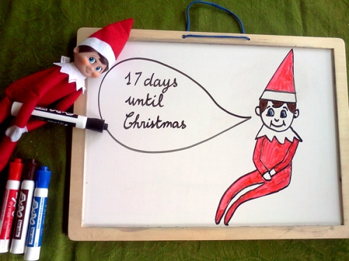 Countdown to Christmas board with the elf on the shelf