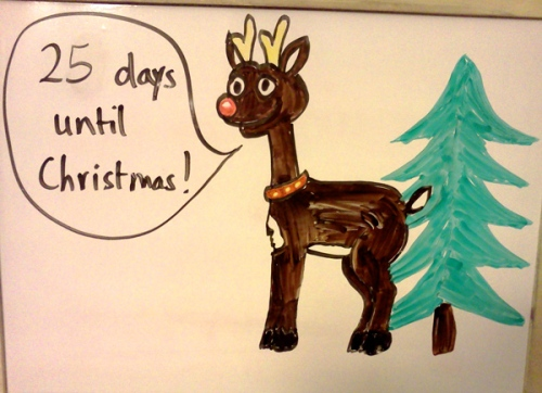 Countdown to Christmas board with Rudolph the red nosed reindeer