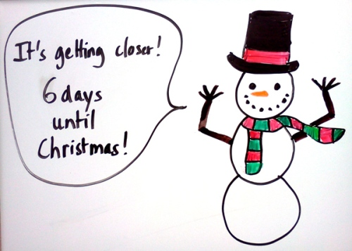 Countdown to Christmas with a snowman