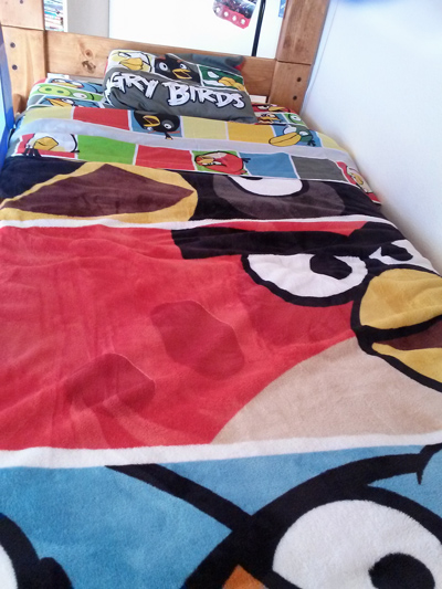 Angry Birds bed sheet set and Angry Birds blanket
