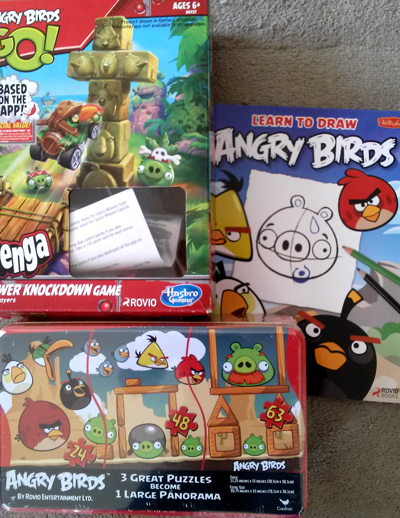 Angry Birds Jenga knockdown and Angry Birds puzzle
