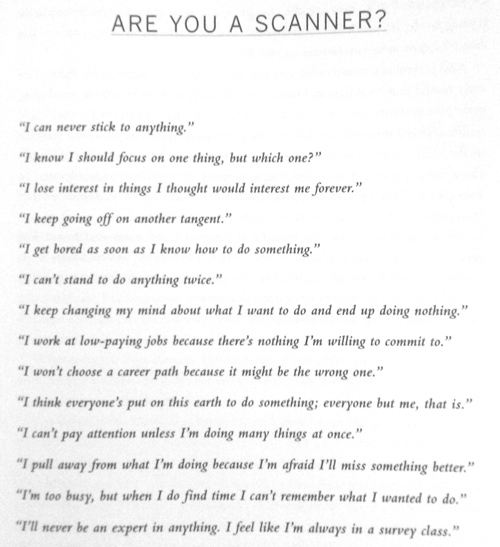 Are you a scanner - Refuse To Choose by Barbara Sher